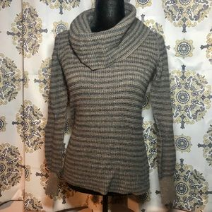 Splendid brown Striped Turtleneck Tunic Sweater